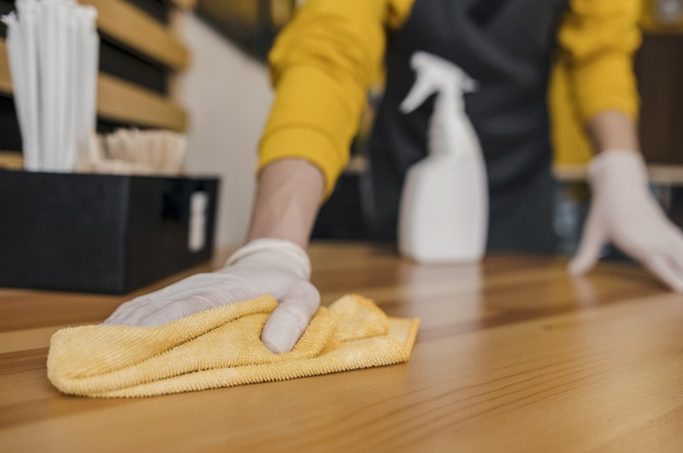 lady cleaning floor with mop by hand
